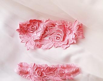 Wedding Garter Set Bridal Garter Set - Pink Lace Garter -  Keepsake Garter Toss Garter Prom Garter Rustic Wedding Boho Wedding