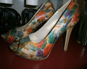 Women's Stilettos - Size 9M-Floral Open Toe