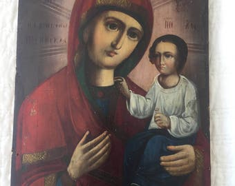 Antique Paining of Madonna and Child on Wood