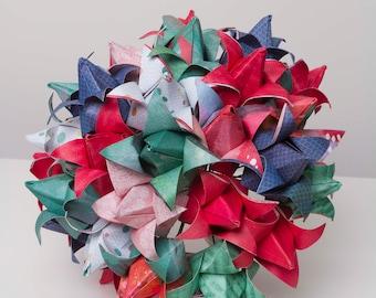 Origami Tulip Bouquet, Hot pink, Bright blue, emerald green, water coloured paper, statement piece, alternative bouquet