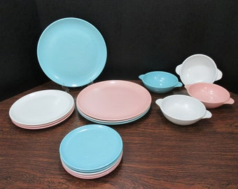 Melamine/Melmac Desert Flower by International Plates and Bowls, Robin Egg Blue, Pink and White