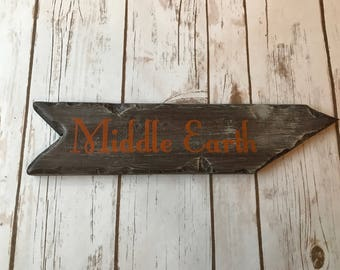 Rustic Hand Painted Middle Earth Directional Sign / Lord of the Rings Inspired / Nerd Decor