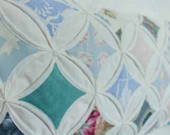 Patchwork Quilt Pillow Cathedral window