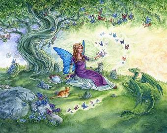 Fairy art print, Dragon, Cats, tabby cat, fairy tale tea party, art for kids, 8x10