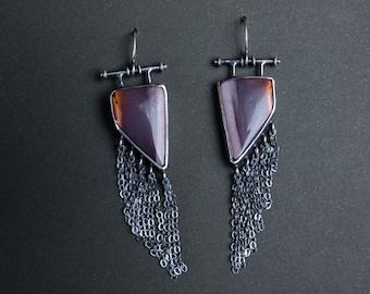 Mookaite Jasper flowing chain one of a kind statement earrings