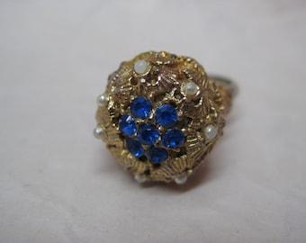 Chunky Blue Rhinestone Ring Gold Pearl Vintage Adjustable