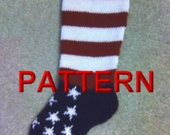 Stars And Stripes Christmas Stocking Knitting Pattern