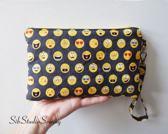 "Emoji Smartphone Clutch, 9 x 5.5 inches,Fits iPhone 8 Plus, 7 Plus, & 6 Plus, Smartphones up to 7 "" Length, Interior Pockets, Emoticon Purse"