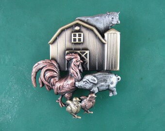 Farmers Daughter Brooch- Barnyard Brooch-Farmers Gift- mixed metal jewelry