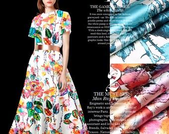 Silk Fabric By The Yard Floral Fabric Printed Fabric Stretch Satin Fabric Flower Fabric Fashion Dress Fabric Women Clothing Fabric -YANZHI