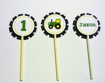 Personalised Tractor cupcake toppers set of 12