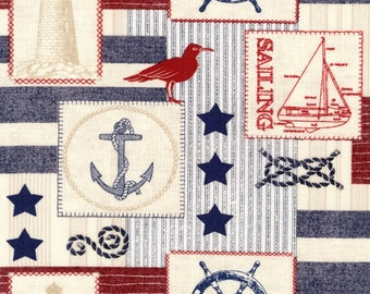 At Sea Patch Cotton Fabric by the yard and by the half yard