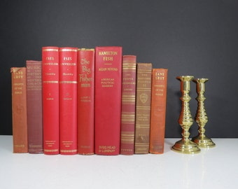 Red Book Collection // Vintage Set of Nine (9) Hardcover Red, Maroon, and Orange Books with Gold Details Modern Library Decor Wedding Props