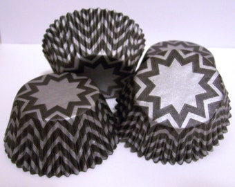 Silver Chevron Stripe  Cupcake Liners- Choose Set of 50 or 100