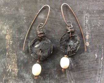 Ancient coin//Freshwater Pearl earrings