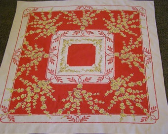 Vintage Tablecloth ~ Red Yellow Flowers Floral
