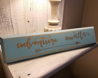 Adventure awaits wall decor sign