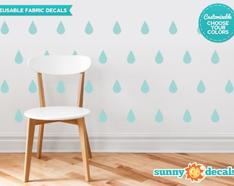 Raindrop Fabric Wall Decals  - Set of 40 Raindrops Wall Pattern Decals - Custom Options Available -  Reusable, Repositionable
