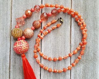 Boho beaded tassel necklace