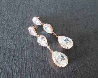 NEW Large Rose Gold Double Drop Swarovski Crystal Earrings/Rosaline Bridesmaid Jewelry/Rose Gold Swarovski Earrings/Pink Crystal Earrings