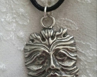 Silver Pewter Pagan Greenman Pendant Necklace