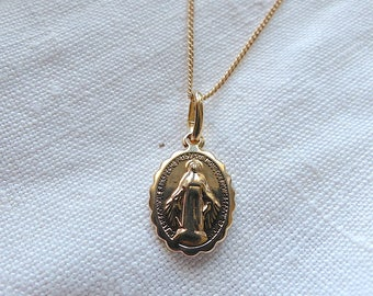 MIRACULOUS Virgin gold plated necklace + chain necklace