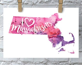 I Heart Massachusetts Map Art Print, I Love Massachusetts Watercolor Home Decor Map Painting, MA Giclee State Art, Housewarming, Moving Gift