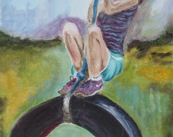 Tire Swing, Girl on Swing, Child Swing, Country, Vintage, Acrylic Painting, Original, Colorful, 10 x 20
