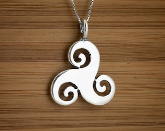 STERLING SILVER Celtic Triskelion Triskele Trinity Pendant - Chain Optional