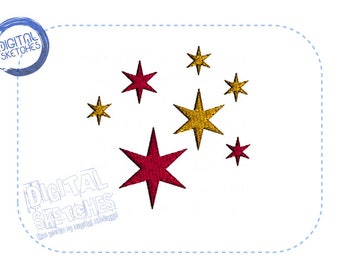 Stars Machine Embroidery Design Instant Download