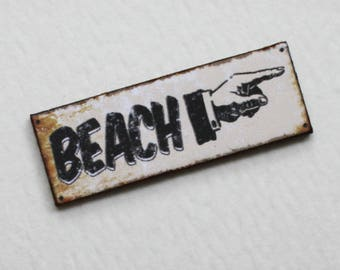 Miniature Beach Sign 1:12 Scale for Dollhouse