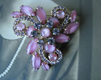 Vintage JULIANA Pink Moonstone and Lavender Rhinestone Brooch, Vintage Delizza & Elster Brooch, Big Vintage Brooch