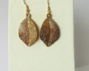 Handcrafted, Upcycled, Dangle and Drop Shimmering Gold Leaves Earrings