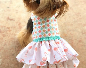 Flirty Flamingo Dog Dress, Customizable to your pets measurements!! Size XXS XS and Small