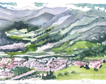 Alps Landscape Plein Air watercolor 11x14 giclee print,Mountains,Europe,valley,impressionist,expressive,colorful,landscape,sketch,travel,art