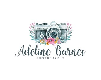 Premade logo and watermark watercolor camera logo flowers logo photography logo business logo graphic design