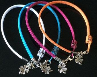 Zipper Bracelet - 4 Leaf Clover Charm