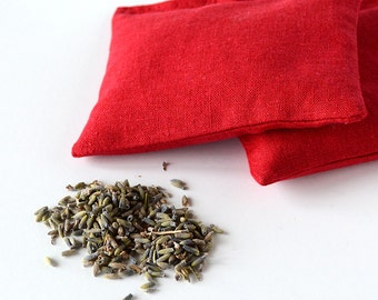Organic Lavender Sachets in Red Linen  Hostess Gift Drawer Sachet Set of 2  Natural Home Wedding Favors Mother's Day Gift