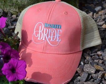 New! Team Bride Hat, Monogram Distressed Trucker Hat, Baseball Caps, Monogram Trucker Hat, Trucker Hat, Trucker Cap, Distressed Baseball Cap