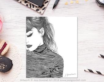 Fashion Illustration, Fashion Wall Art, Parisian, Fashion Girl, Fashion Poster. Girls Gift, Home Decor, Black & White Stripe.