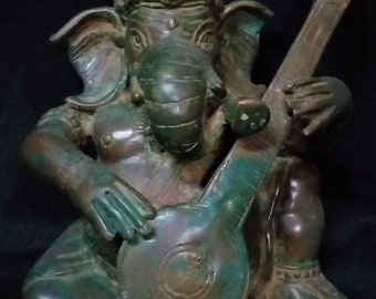 "Ganesha Meditation Playing Veena Statue 7"" Bronze Brass - Hindu God Ganesh Spiritual Collectable Art Sculpture"