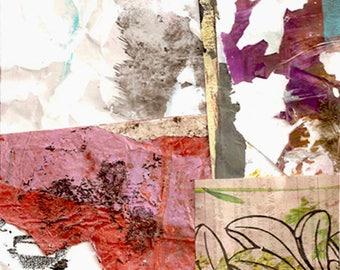 Papiers de limite - Collage avec peint à la main 5 x 5 sur support en 8 x 10