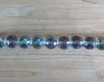 "20mm Vitrail Green Faceted Crystal Ball Beads (14"" strand)"