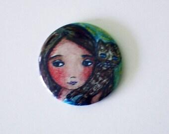 Girl with Cat -  Pocket Mirror- Original Art by Flor Larios
