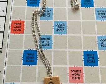 Wooden Scrabble Tile Necklace A-Z Available