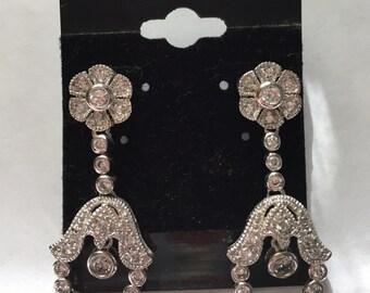 Sterling Silver CZ Dangle Pierced Earrings New Old Stock