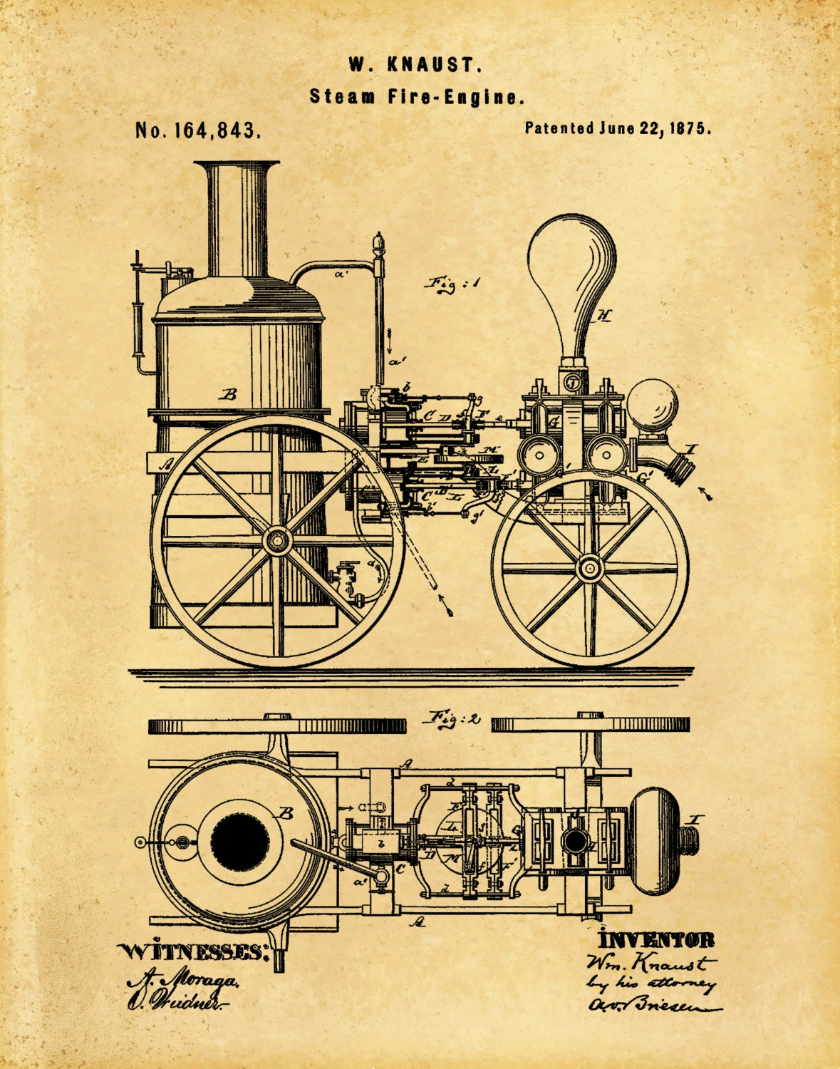 Patent 1875 Steam Fire Engine - Art Print - Poster - Wall Art - Fire ...