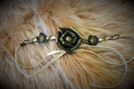 Pagan folk hair accessory headband headband jewel gold with black molded leather roses