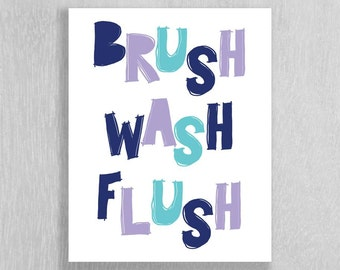 Childrens Bathroom Art Instant Download - Brush Wash Flush - Navy Blue, Lavender, Aqua 8 x 10