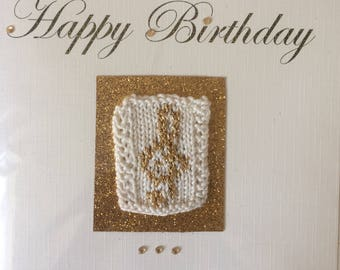 Music Themed Hand Knit Greetings Card - Happy Birthday